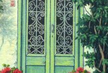 oil painting / oil#lacecurtains#windows#doors#flowers