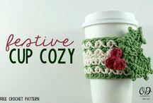 crocheted coffee cozies