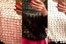 Bluzka na imprezę / Śliczna bluzka z bawełny z przodu wykończona kółeczkami z eco-skóry. Bardzo wygodna, sprawdzi się na co dzień i na imprezę :)