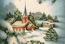paysage  hiver  vintage