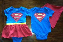 Boy/girl twin babies matching clothes