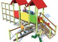 Zestawy zabawowe - place zabaw Piansport Poznań / Prezentujemy zestawy zabawowe produkowane przez naszą firmę - drewniane place zabaw, zjeżdżalnie, domki ze schodami i daszkiem oraz wiele innych konfiguracji!