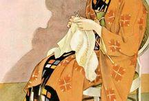 Des femmes qui cousent, tricotent, brodent