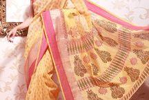 Block Printed Sarees / Alluring block prints in dark hues. Bold & sensational prints . Block Printed sarees can be shopped at www.cbazaar.com