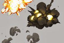 humo, explosiones, fuego