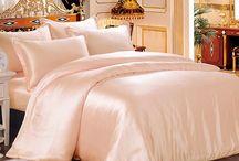 pink satin bed linen
