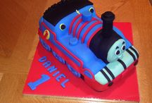 Thomas the tank engine Victoria sandwich 1st birthday cake / Thomas the tank engine vanilla Victoria sandwich cake with vanilla buttercream and strawberry jam, covered in fondant icing