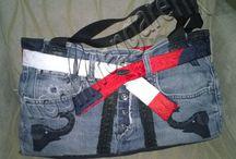 Kot  Deri Omuz Çantası --Jeans Leather Shoulder Bag