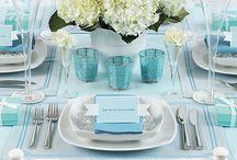 mint blue table setting