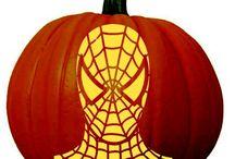 Superhero (and Villains!) Pumpkin Carving Patterns / Pumpkin carving stencils of famous superheroes like spider-man, superman, iron man etc. and super villains.