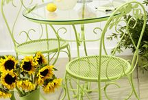 Painted iron garden tables and chairs