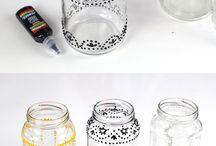 Pinturas em potes de vidro