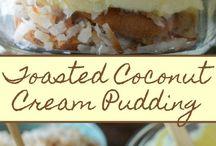 Toasted coconut cream pudding