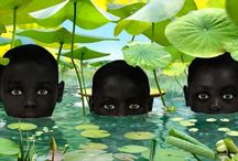 RUUD VAN EMPEL  / Van Empel's working method is a complex one. He photographs 4 or 5 professional models in his studio and takes many detailed photographs of leaves, flowers, plants and animals. The models pictures are mixed with these images using the Photoshop program and with clothes photographed separately on a tailor's dummy. In this way he creates new images of mainly children, in black and white, set in a paradisaical environment. / by Elena Carbonell