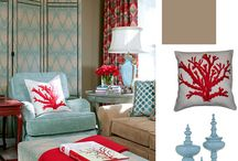 Turquoise and Red Living Room / I'm working on my plan (and convincing my husband) for a new living room! These are some ideas.