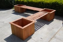 Bench with planters