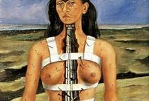 Frida / Frida Kahlo my favorite surrealist artist. So damaged but yet brilliant.