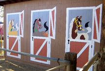 """NOT just for kids rooms! / Murals aren't just for the kids rooms. Many of our customers have painted them other places too! They have been seen outside on an ugly block wall, the backside of a stable, even to turn an old storage shed into a whimsical """"barn""""!"""