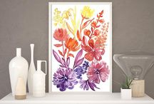 ~Floral abstract watercolor in bohemian style