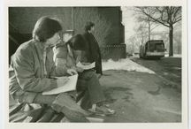Hop on! / Pictures of the PVTA and Five College Busses throughout time.  Photos courtesy of the Mount Holyoke College Archives and Special Collections.