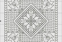 free back stitch and black work style patterns