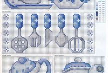 cross stitch kitchen