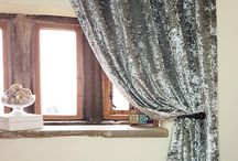 Crushed Velvet Curtains / The Bela Casa Home collection of crushed velvet ready made curtains available on our website in gold, champagne, pearl, black and silver.