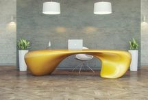 Extravagant work table - mirror effect and fluid shapes