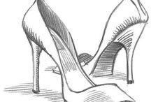 Schuhe , Bleistift und Tusche