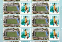 Sports Stadia Art Stamp Sheets / Sets of 10 first & second Class stamps depicting Stadia Art from around the UK issued for Christmas 2014