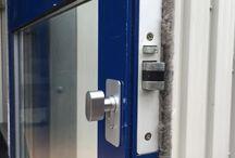 Aluminium Doors / A selection of new aluminium doors and aluminium door locks specified, supplied and installed by Errington Locksmiths in Milton Keynes.