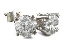 1 Carat Diamond Stud Earrings Set In Platinum, Screwbacks, Free US Shipping, Free Global Shipping