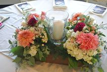 Weddings / Rustic Containers with Dahlias, Garden Roses, Seeded Euc.,