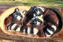 Wooden Carvings raccoon