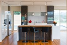 Albedor Contemporary Style Kitchen Design / Albedor's door designs suited to Contemporary style are...  Holly, Kacey and all flat door profiles in satin, gloss and organic finishes. Finger pull rails for handleless doors and drawers. Wine rack system.