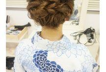Hair arrangement for yukata/kimono