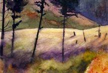 Watercolor landscape / autumn