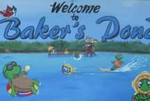 Baker's Pond / Outdoor mural with delightful colorful fun creatures