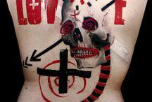Trash Polka Tattoos / Europe's Underground Tattoo Movement Rears Its 1980s Head  Read the Entire Article:  http://designlifenetwork.com/trash-polka  #TrashPolka #Tattoos #Tattoo #SimonePfaff #VolkoMerschky #InkMaster #BuenaVistaTattooClub