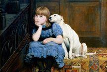 DOG / Dog, dogs, pet, pets, puppy, puppies, bulldog, pug, golden retriever, spaniel, cocker, boxer, greyhound, art, photo, photography, painting, watercolour, watercolor,   / by Bridgeman Images