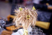 Aranjamente nunta Pitesti / Decoratiuni nunta Pitesti aranjamente florale spice de grau cu floarea soarelui huse scaun cu bentita servete cu fundita IssaMariage IssaEvents Valcea Bucuresti Slatina