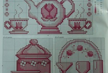 Cross stitch - kitchen / Food, sweets, porcelain