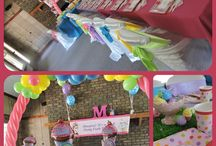 Cupcake birthday party / Themed party decorations, Flower Balloon Arch, Cupcake table birthday party centerpieces