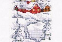 haft krzyżykowy-Boże Narodzenie / kartki świąteczne
