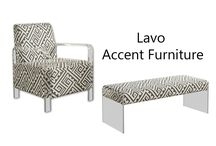 Lavo Accent Furniture - Meridian Furniture / Lavo Accent Furniture - Meridian Furniture  Featuring a custom fabric & design. The solid wood frame is upholstered with a beautiful custom fabric and features acrylic arms & legs.  Black and White Print Fabric Acrylic Legs and Arms Attach Legs Only