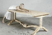 Wooden table Ontwerpduo with its collection of marbles