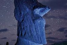 Moai in garden / moai warrior in central Europe medow