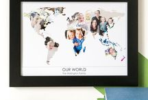 Hello Ruth - Personalised 'World' Photograph Maps / Want to display your photos in a stylish way? Create a personalised 'our world' photograph print with your photos in a map of the world.