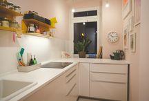 at kniepuder's / #livingroom #wohnzimmer #küche #kitchen #farrowandball #calkegreen #calamine #vitra #habitat #hay #fensted #studioarhoj #ikea #teampinkwalls #teamgreenwalls