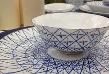 Hiver bleu porcelaine Limoges peint main / Porcelaine Limoges peint main